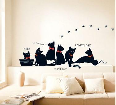 Набор интерьерных стикеров I love cat