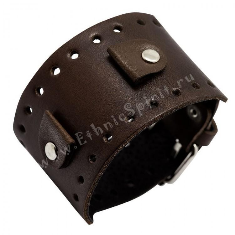 Кожаный браслет-напульсник под часы с перфорацией