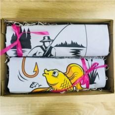 Набор парных футболок в коробке Рыболов и золотая рыбка