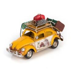 Модель жетого ретро-автомобиля с фоторамкой и копилкой