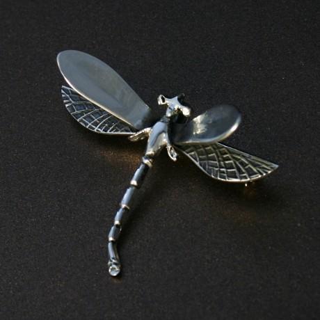 Серебряная брошь «Большая стрекоза»
