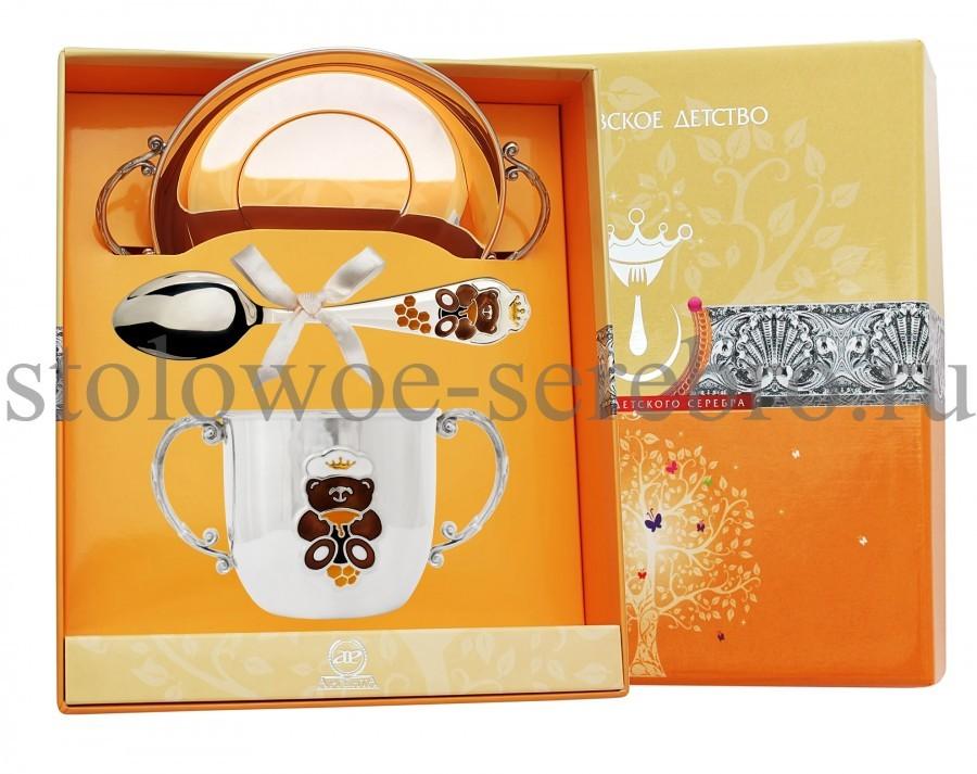Серебряный столовый набор Мишутка, с эмалью №146