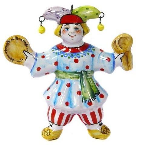Ёлочная игрушка Скоморох с бубном