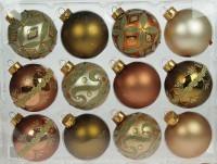 Набор ёлочных игрушек, шарики золотистые с узорами, 7 см