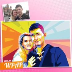 Портрет пары по фотографии в стиле WPAP