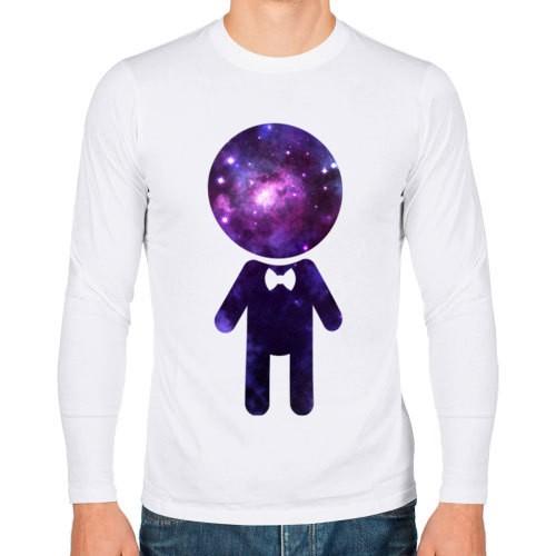 Мужская парная футболка с длинным рукавом Парень космос