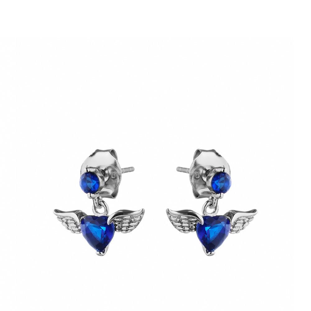 Пусеты из серебра в форме крыльев с синим фианитом