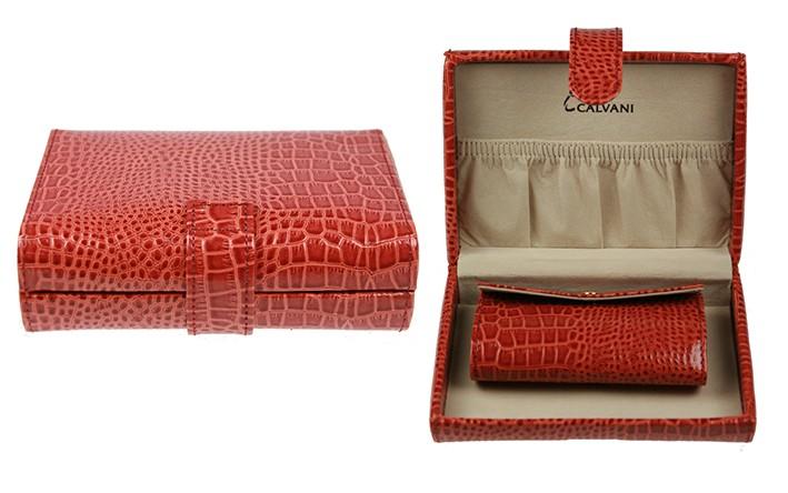 Красная кожаная шкатулка для ювелирных украшений CALVANI
