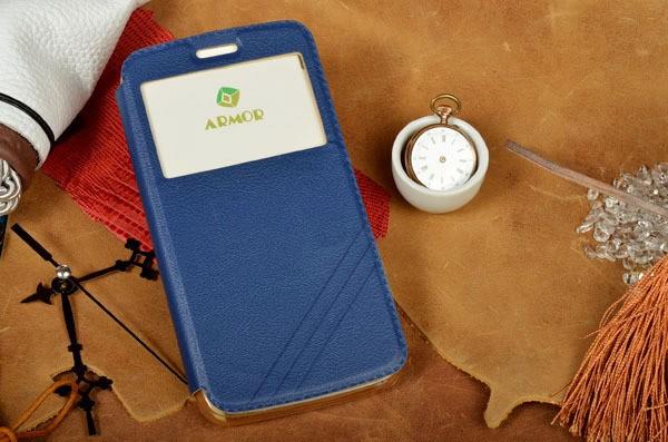 Синий чехол для iPhone 6S Plus/6 Plus с окошком и застежкой