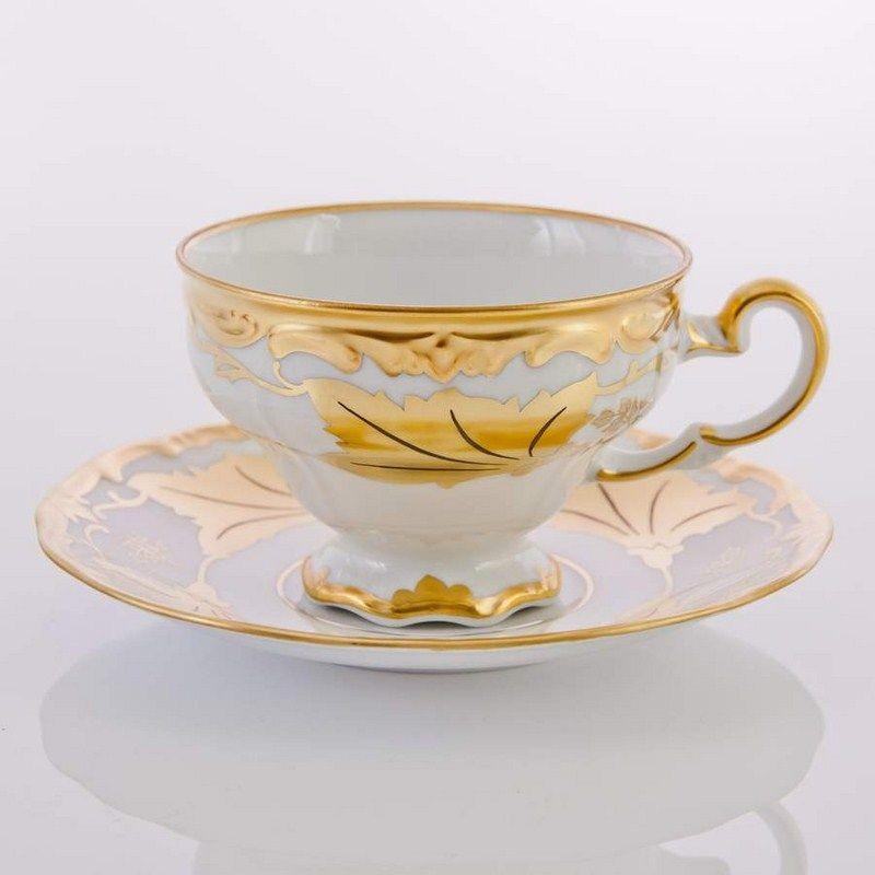 Чайный набор из фарфора на 6 персон Кленовый лист белый