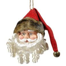 Елочная игрушка Санта в очках и шапке с темным мехом