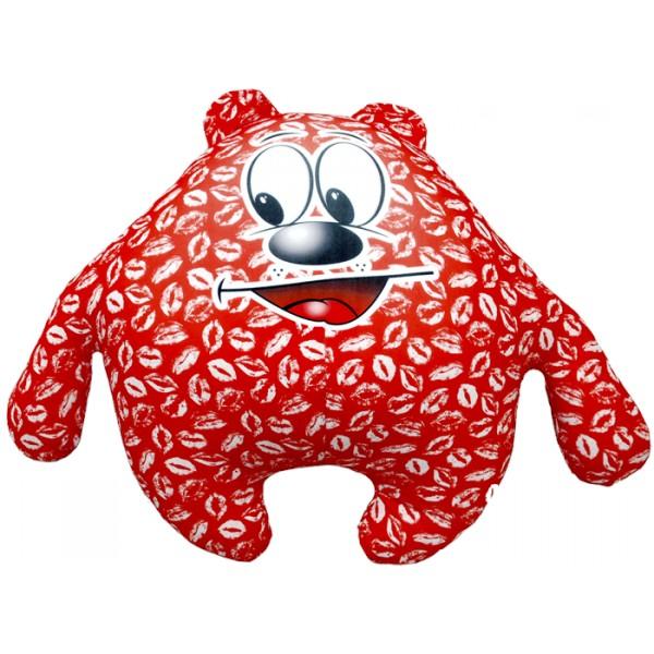 Красная подушка-игрушка Зацелованный мишка