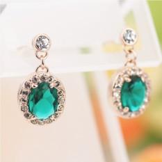 Серьги «Искушение» с зелеными кристаллами Сваровски