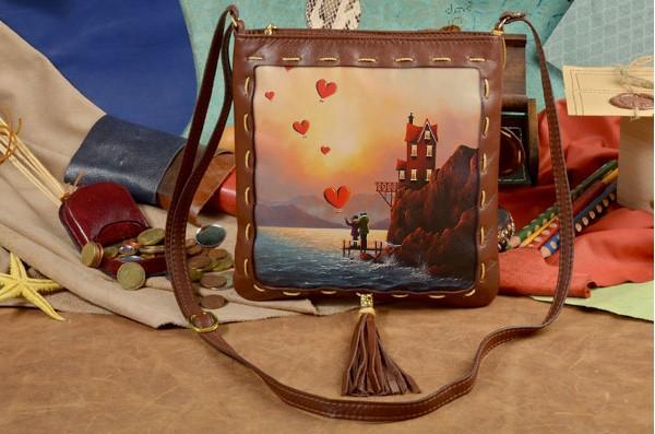 Женская сумка-планшет с принтом Уют сердец