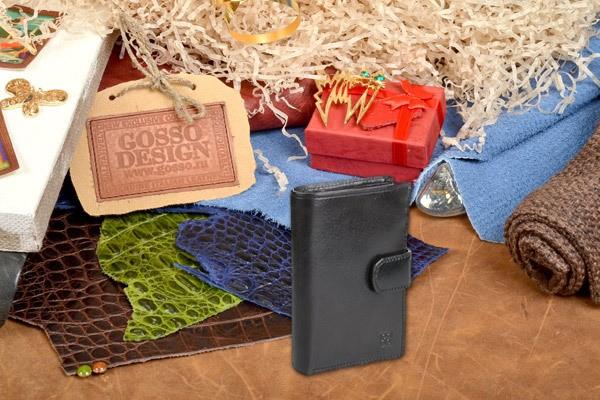 Черное кожаное портмоне Sergio Belotti