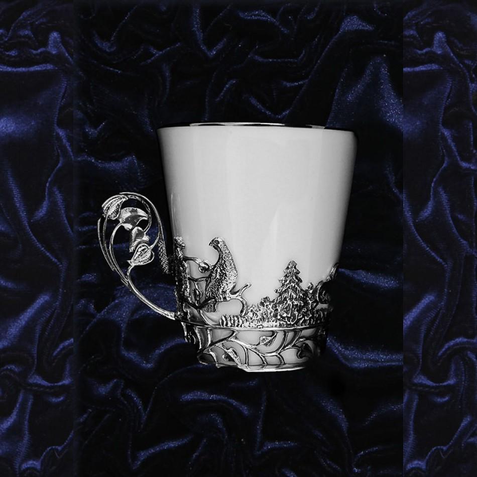 Серебряная чайная чашка Тетерев, чернение