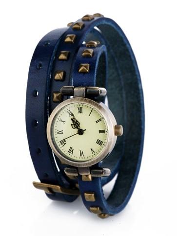 Синие часы на двойном ремешке Ticker