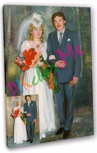Подарок портрет на свадьбу на холсте