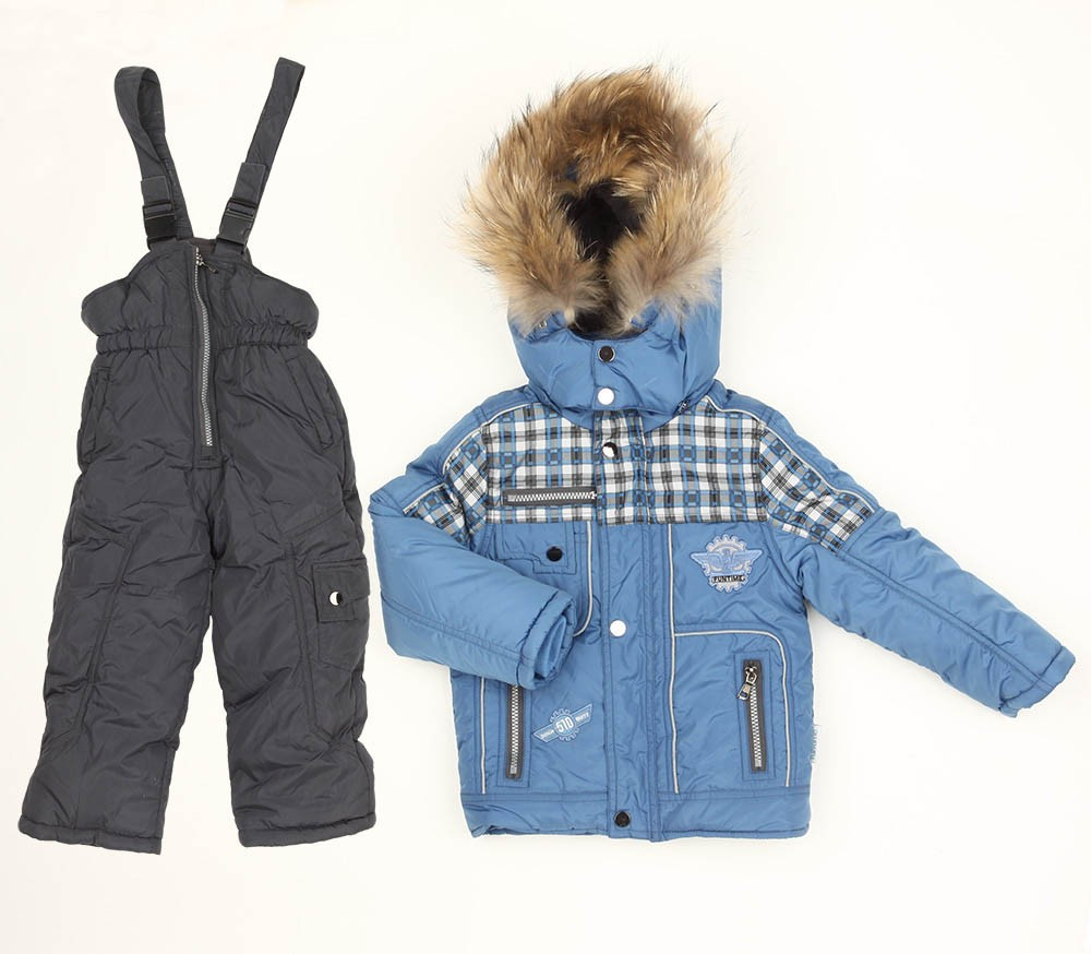 Комплект Fun Time куртка и полукомбинезон, цвет: серый/джинс