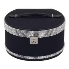 Круглая черная шкатулка для украшений Glamour