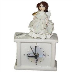 Квадратные часы из фарфора Ангел с трубой ZamPiva