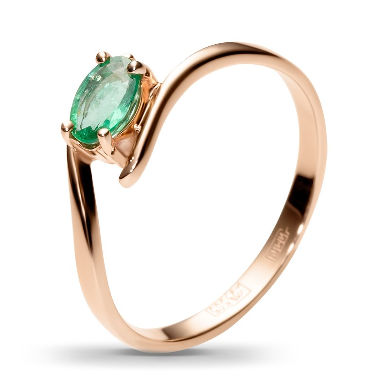 Кольцо из красного золота с 1 изумрудом