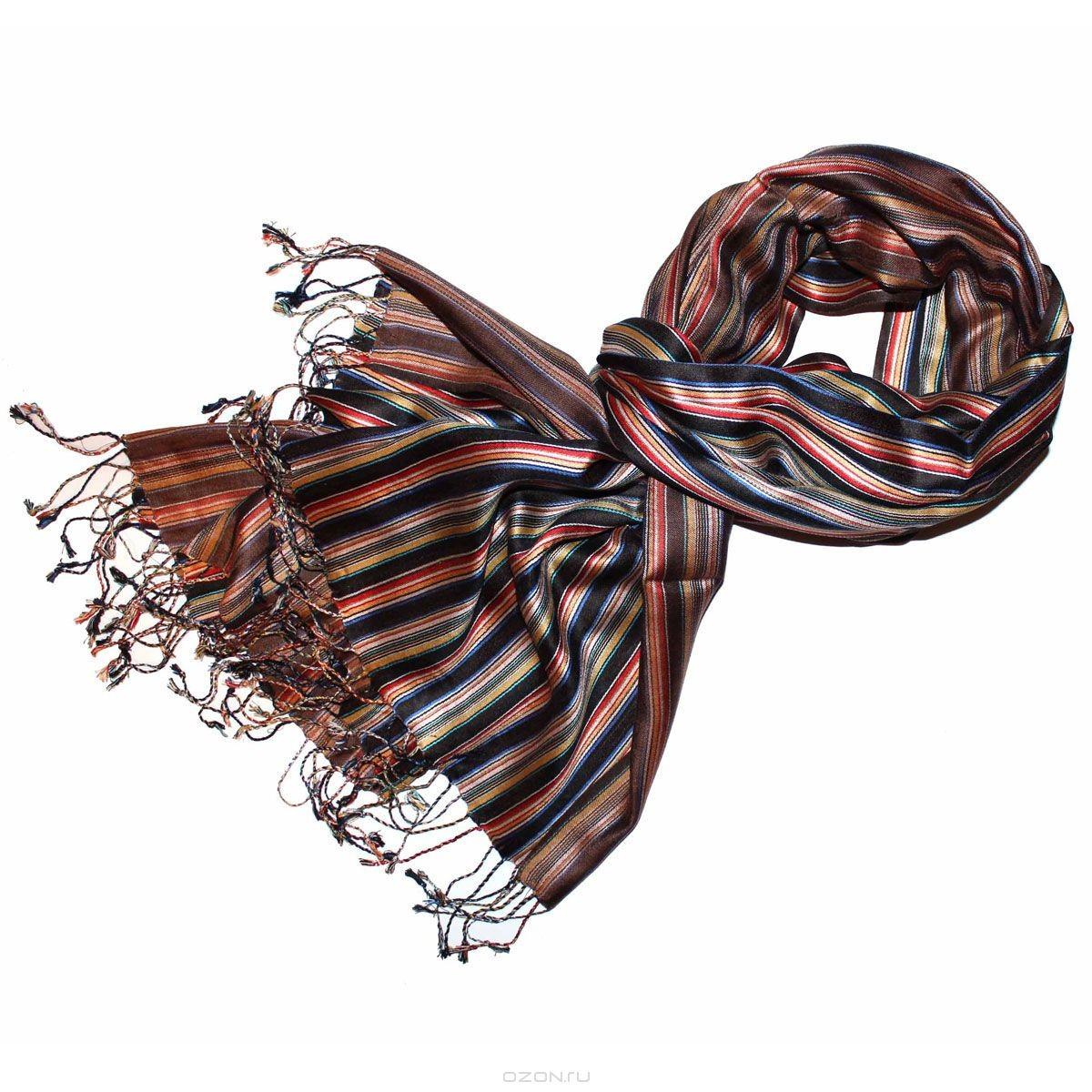 Шелковая шаль в полоску