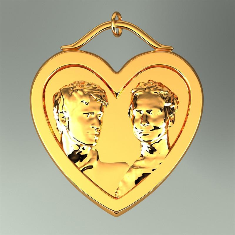 Медальон-кулон в виде сердца 3DYA (латунь)