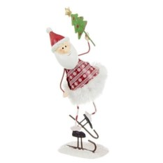 Фигурка Дед мороз на коньках с елочкой
