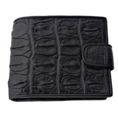 Мужской кошелек из кожи крокодила с монетницей (черный)
