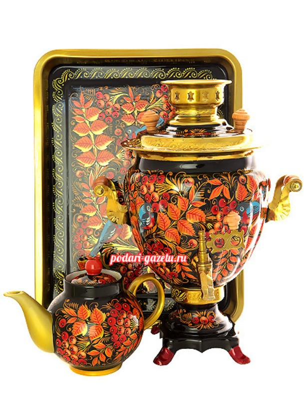 Набор: латунный самовар Рябина, заварочный чайник и поднос