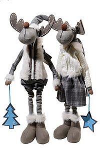Новогодняя игрушка Лось с подарком с выдвижными ногами