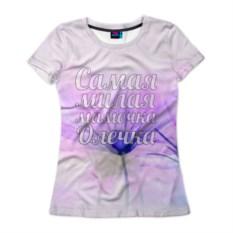Женская футболка 3D Самая милая мамочка Олечка