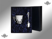 Серебряный набор чашка кофейная Зайцы + кофейная ложка Престиж