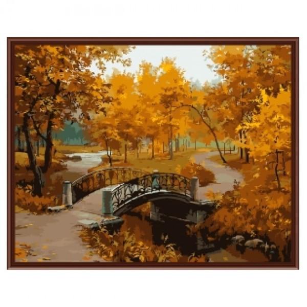 Картина-раскраска Мост в парке