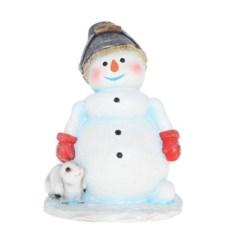 Декоративная садовая фигурка Снеговик с ведром на голове