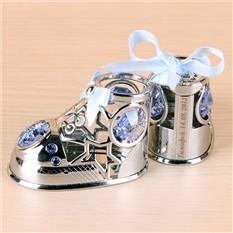 Сувенир на рождение с голубыми кристаллами с именной грав-ой