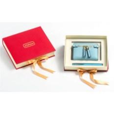 Голубой подарочный набор Ручка и портмоне из экокожи