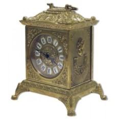 Каминные антикварные часы из латуни