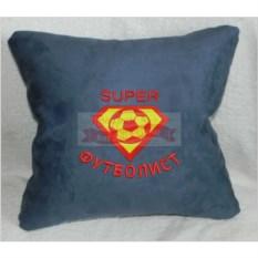 Синяя подушка Супер футболист