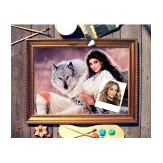 Портрет по фото Девушка с волком
