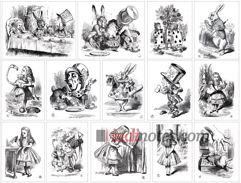 Лист виниловых наклеек Алиса в стране чудес