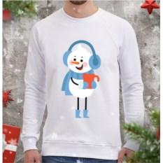 Белый мужской свитшот Снеговик с кружкой чая