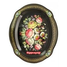 Поднос Жостово Цветочки на черном фоне