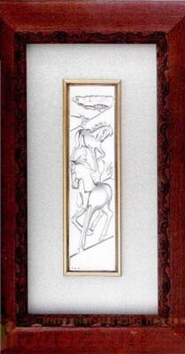 Картина Кони посеребренная в деревянной рамке