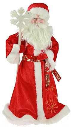Фигурка интерьерная Дед Мороз в красной шубе с посохом