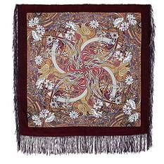 Платок Павлопосадский с рисунком Жемчужный берег