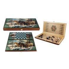 Настольная игра Нарды и шашки с изображением стаи волков