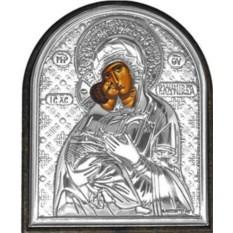 Маленькая серебряная икона Владимирская Богородица