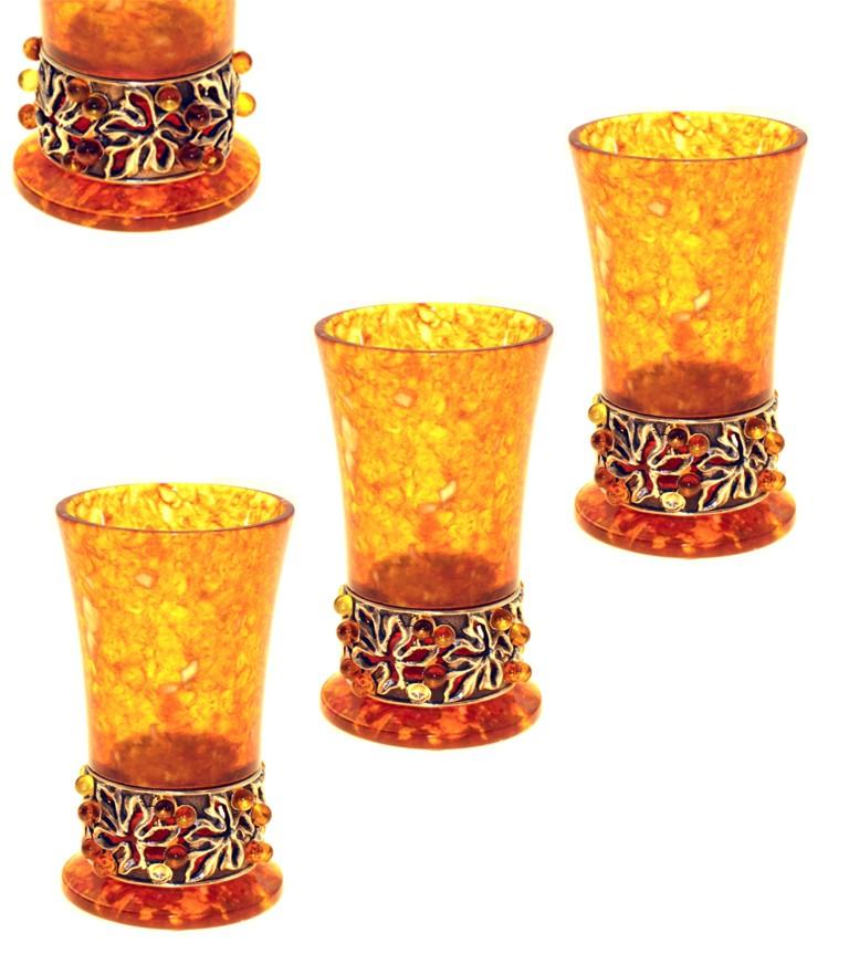 Набор из 3 янтарных стопок Виноградная лоза
